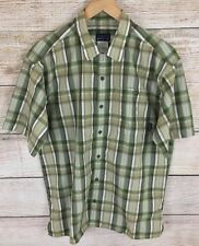 Patagonia Men's Textured Green Plaid Organic Cotton Blend S/S Shirt Size Medium