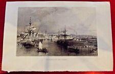 Ancienne Gravure Angleterre Stockton on tees W.Floyd & T.Allom 1834