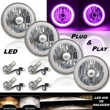 "5-3/4"" Purple SMD LED Halo Angel Eye H4 Headlight w/ 6k LED Light Bulb Set of 4"