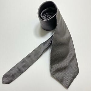 Brooks Brothers 346 Men's Neck Tie Pure Silk Gray and Navy Woven Grenadine