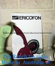 new vintage ERICOFON phone TIN SIGN Retro telephone advert Cobra mid century art