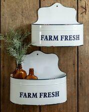 FARM FRESH Wall Caddy FARMHOUSE Kitchen Bin Bathroom Wall Bucket Shelf 2~sizes