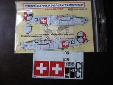 1/72 KORA DECAL LIBERATOR B24 H 106 SWISS AIR FORCE DECALCOMANIE