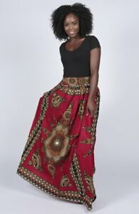 African Print Fashion Women Ladies Party Pleat Maxi Skirt in Sizes UK8 -to- UK14