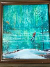 "Nice ""Ice Skater And Pond Landscape Scene"" Oil Painting - Signed And Framed"