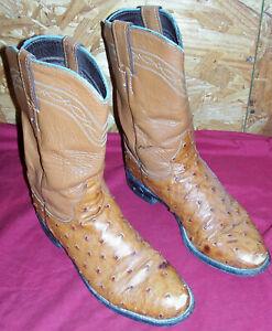 Men's Size 6 ½ B Justin Roper Boots Cognac Quill Ostrich Skin Cowboy Western 6.5