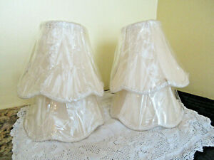 SET OF FOUR BEIGE WOVEN CLIP ON MINI BELL LAMPSHADES ORNATE EDGING New in Cello