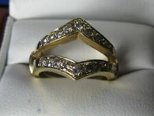 Ladies 14k Yellow Gold Ring Guard Jacket  with Diamonds 6 grams sz 5.5
