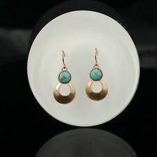 earrings Golden Copper Two Small Round Turquoise Blue Retro EE10