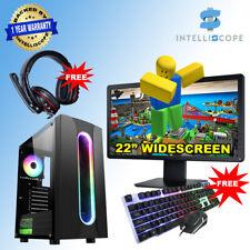 """Fast Gaming PC Computer 22"""" Bundle Intel Quad i5 16GB 1TB HDD WIN 10 2GB GT730"""