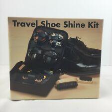 Travel Shoe Shine Kit Case Black Brown Polish Brushes Sponges Cloth NIB