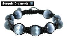 shamballa bluish gray catseye beads black macrame hip hop bracelet unisex 12