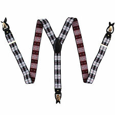 New in box Men's Suspender red grey black plaid elastic braces clips buttons