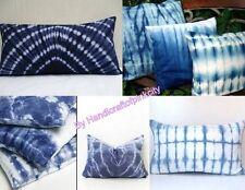 2 Pcs Wholesale Lot Indigo Blue Shibori Print Cotton Cushion Cover Pillow shame