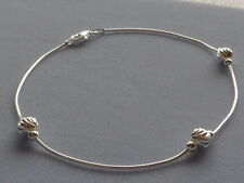 "New-Italian Sterling Silver-10""-Ankle Bracelet-Snake Chain w/Faceted Beads"