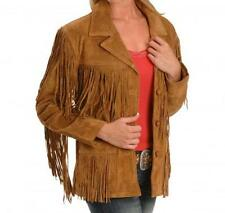 Women Western Brown Suede Leather Jacket Fringe Bone and Beads Work