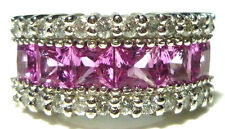 EFFY 14K WHITE GOLD DIAMOND PRINCESS CUT PINK SAPPHIRE RING BAND SIZE 5
