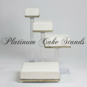 4 TIER SQUARE CASCADE WEDDING CAKE STAND (STYLE SQ415)