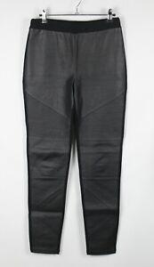 ROCKMANS Sz 10 Jeggings Pants Womens Black Faux Leather & Ponte Pull On Stretch