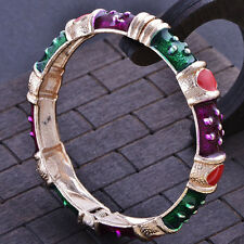 Fashion jewelry gold plated multicolo Enamel bangle charms bracelet
