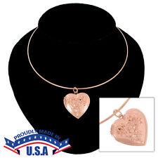 USA Made Rose Gold Tone Heart Photo Locket Pendant Collar Necklace