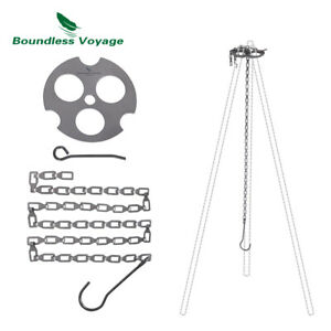 Titanium Hanging Chain with Hooks Fixed-loop for Outdoor Pot Cup Grill Hanging