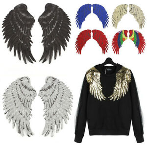 1Pair Sequins Patches Angel Wing Sew  Iron on Applique Clothing Badge DIY Craft