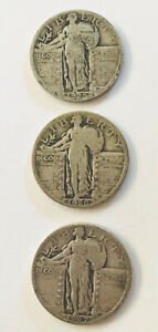 Silver Standing Liberty Quarters (3) 1925, 1926, 1927.
