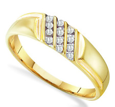 Men's 100% 10K Yellow Gold Genuine White Diamond Ring - Channel Set Band .12ct