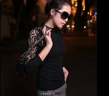 Classical Lace Sleeve Top - Black Size Small