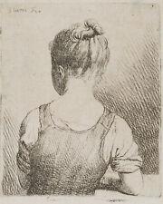 J.GLUME(*1711), Sitzendes Mädchen in Rückansicht, 18.Jhd., Radierung