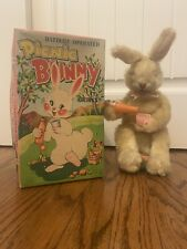 1950S Vintage Battery Operated Picnic Bunny Alps Japan In Original Box