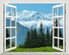 """Wall Mural - Snow Mountain and Pine Trees out of the Open Window- 24""""x32"""""""