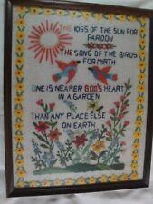12x15 Framed Needle Point Yarn Christian Saying Bird Sun Flowers Garden Kiss