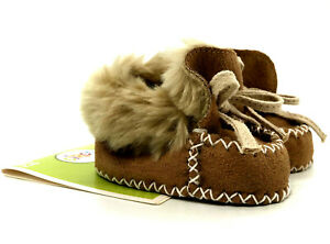 Circo Moccasin Baby Slippers NB to 6 WKS New With Tag Faux Fur And Laces Brown