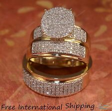 His And Hers Diamonds Trio Sets Wedding Band Engagement Rings 14K Yellow Gold