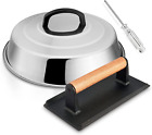 HaSteeL 12In Cheese Melting Dome & 8x4In Cast Iron Grill Press, Stainless Steel