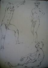 DESSIN-MINE DE PLOMB-ETUDE-MANIERISTE-NU-HOMME-ACADEMIQUE-ATELIER-1/19-