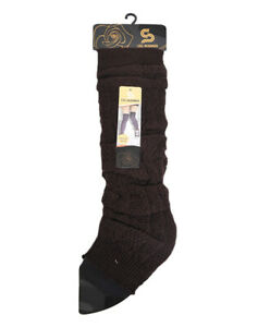 Women's Fall Winter Leg Warmers Over The Knee One Size Solid Black Cable Knit