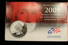 2009 UNITED STATES MINT DIST. OF COLUMBIA +TERRITORIES SILVER QUARTERS PROOF SET