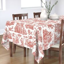 Tablecloth Toile French Romantic Turkey Red White Pastoral Cotton Sateen