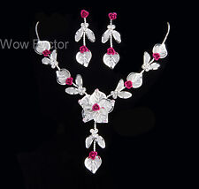 Deep Pink Rose Rhinestone Crystal Necklace and Earrings Bridal Bridesmaid Set