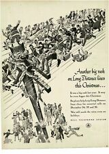 1944 BELL TELEPHONE System Long Distance Lines Christmas Rush Santa Vintage Ad