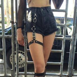 Women Sexy Thigh Harness Punk Leather Garter Belt Leg Chains 4 Colors Option
