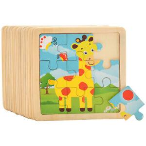 5 Pcs 3D Puzzle Jigsaw Wooden Toys Kids Children Educational Cartoon Animal