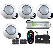 WIFI Wireless RGB LED Pool Lights Underwater Remote Power Supply Equipments 4pcs