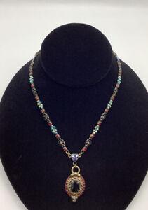 Sorrelli Garnet Red Blue Green Crystal Pendant Necklace Adjustable