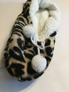 New Sherpa Lined Cozies Slippers - Leopard Print - S/M 6-7.5