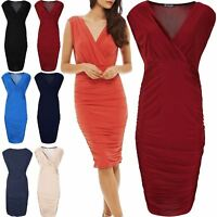 Womens Midi Dresses Ladies Sleeveless Wrap Cross Over V Neck Side Ruched Bodycon