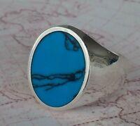 Turquoise Gemstone Solid Turkish 925 Sterling Silver Men Ring